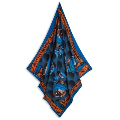 Square Scarf Blue & Orange